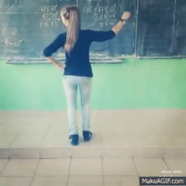 A 14yo Bulgarian teen girl twerking in school [кючек] on Make a GIF